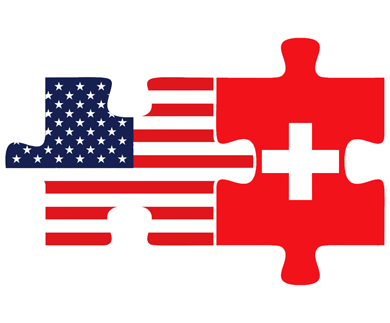 Vector Image - USA and Switzerland Flags in puzzle  isolated on white background
